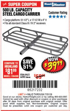 Harbor Freight Coupon STEEL CARGO CARRIER Lot No. 66983/69623 Expired: 7/31/18 - $39.99