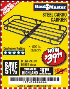 Harbor Freight Coupon STEEL CARGO CARRIER Lot No. 66983/69623 Expired: 2/16/19 - $39.99