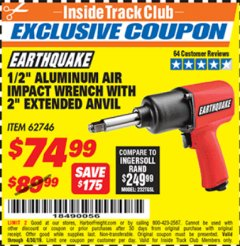 "Harbor Freight ITC Coupon 1/2"" PROFESSIONAL AIR IMPACT WRENCH WITH 2"" EXTENDED ANVIL Lot No. 62746 Expired: 4/30/19 - $74.99"