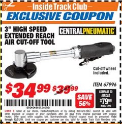 "Harbor Freight ITC Coupon 3"" HIGH SPEED EXTENDED REACH AIT CUT-OFF TOOL Lot No. 67996 Expired: 12/31/18 - $34.99"