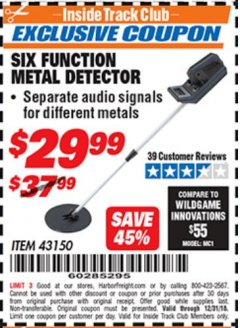 Harbor Freight ITC Coupon 6 FUNCTION METAL DETECTOR Lot No. 43150 Expired: 12/31/18 - $29.99