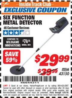 Harbor Freight ITC Coupon 6 FUNCTION METAL DETECTOR Lot No. 43150 Expired: 5/31/19 - $29.99