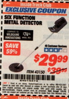 Harbor Freight ITC Coupon 6 FUNCTION METAL DETECTOR Lot No. 43150 Expired: 7/31/19 - $29.99