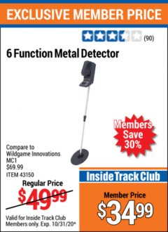 Harbor Freight ITC Coupon 6 FUNCTION METAL DETECTOR Lot No. 43150 Valid Thru: 10/31/20 - $34.99