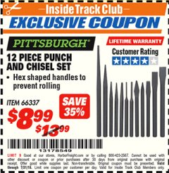 Harbor Freight ITC Coupon 12 PIECE PUNCH AND CHISEL SET Lot No. 56345/66337 Expired: 7/31/18 - $8.99