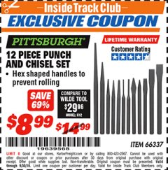 Harbor Freight ITC Coupon 12 PIECE PUNCH AND CHISEL SET Lot No. 56345/66337 Expired: 9/30/18 - $8.99
