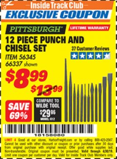 Harbor Freight ITC Coupon 12 PIECE PUNCH AND CHISEL SET Lot No. 56345/66337 Expired: 4/30/19 - $8.99
