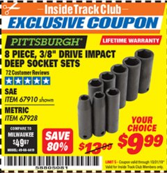 "Harbor Freight ITC Coupon 8 PIECE 3/8"" DRIVE DEEP IMPACT SOCKET SETS Lot No. 67910/67928 Expired: 10/31/19 - $9.99"