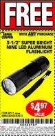 "Harbor Freight FREE Coupon 3-1/2"" SUPER BRIGHT ALUMINUM FLASHLIGHT Lot No. 69111/63599/62522/62573/63875/63884/63886/63888/69052 Expired: 6/12/17 - FWP"