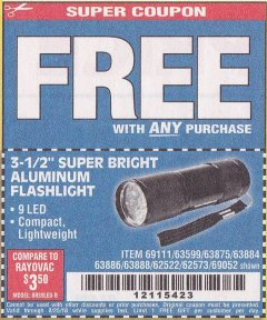 "Harbor Freight FREE Coupon 3-1/2"" SUPER BRIGHT ALUMINUM FLASHLIGHT Lot No. 69111/63599/62522/62573/63875/63884/63886/63888/69052 Expired: 8/25/18 - FWP"