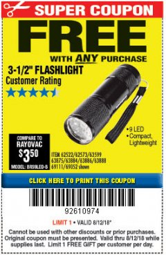 "Harbor Freight FREE Coupon 3-1/2"" SUPER BRIGHT ALUMINUM FLASHLIGHT Lot No. 69111/63599/62522/62573/63875/63884/63886/63888/69052 Expired: 8/13/18 - FWP"