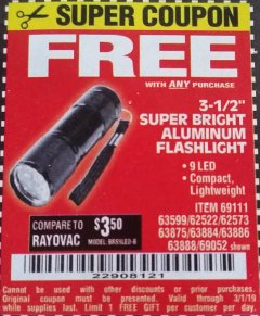 "Harbor Freight FREE Coupon 3-1/2"" SUPER BRIGHT ALUMINUM FLASHLIGHT Lot No. 69111/63599/62522/62573/63875/63884/63886/63888/69052 Expired: 3/1/19 - FWP"