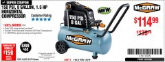 Harbor Freight Coupon MCGRAW 150 PSI, 8 GALLON, 1.5 HP HORIZONTAL COMPRESSOR Lot No. 64294/56269 Expired: 1/20/19 - $114.99