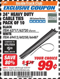 "Harbor Freight ITC Coupon 24"" HEAVY DUTY CABLE TIES PACK OF 10 Lot No. 62717/62720 Expired: 12/31/19 - $0.99"