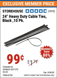 "Harbor Freight ITC Coupon 24"" HEAVY DUTY CABLE TIES PACK OF 10 Lot No. 62717/62720 Expired: 9/30/20 - $0.99"