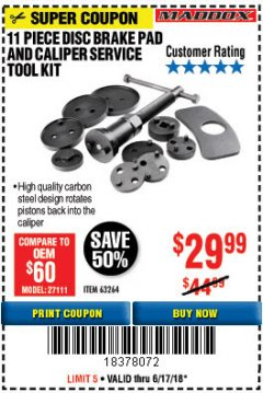Harbor Freight Coupon 11 PIECE DISC BRAKE PAD AND CALIPER SERVICE TOOL KIT Lot No. 63264 Expired: 6/17/18 - $29.99