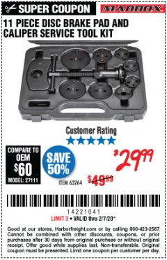 Harbor Freight Coupon 11 PIECE DISC BRAKE PAD AND CALIPER SERVICE TOOL KIT Lot No. 63264 Expired: 2/7/20 - $29.99