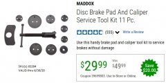 Harbor Freight Coupon 11 PIECE DISC BRAKE PAD AND CALIPER SERVICE TOOL KIT Lot No. 63264 EXPIRES: 6/30/20 - $29.99