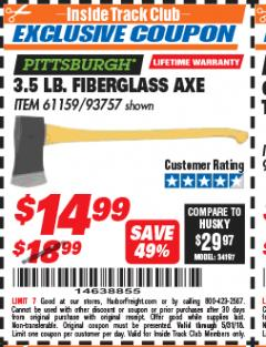 Harbor Freight ITC Coupon 3-1/2 LB. FIBERGLASS AXE Lot No. 93757/61159 Expired: 5/31/18 - $14.99