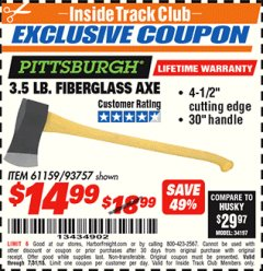 Harbor Freight ITC Coupon 3-1/2 LB. FIBERGLASS AXE Lot No. 93757/61159 Expired: 7/31/18 - $14.99