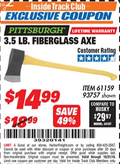 Harbor Freight ITC Coupon 3-1/2 LB. FIBERGLASS AXE Lot No. 93757/61159 Expired: 10/31/18 - $14.99