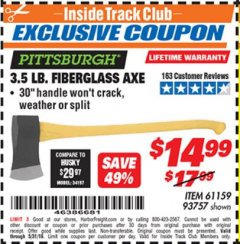 Harbor Freight ITC Coupon 3-1/2 LB. FIBERGLASS AXE Lot No. 93757/61159 Expired: 5/31/19 - $14.99