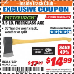 Harbor Freight ITC Coupon 3-1/2 LB. FIBERGLASS AXE Lot No. 93757/61159 Valid Thru: 6/30/20 - $14.99