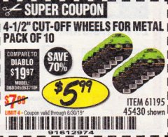Harbor Freight Coupon 3-1/2 LB. FIBERGLASS AXE Lot No. 93757/61159 Expired: 6/30/19 - $5.99