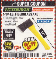 Harbor Freight Coupon 3-1/2 LB. FIBERGLASS AXE Lot No. 93757/61159 Expired: 10/31/19 - $6.99