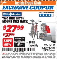 Harbor Freight ITC Coupon TWO BIKE HITCH MOUNT BIKE RACK Lot No. 60623/98019/64123/63924 Expired: 2/28/19 - $27.99