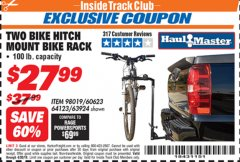 Harbor Freight ITC Coupon TWO BIKE HITCH MOUNT BIKE RACK Lot No. 60623/98019/64123/63924 Expired: 4/30/19 - $27.99