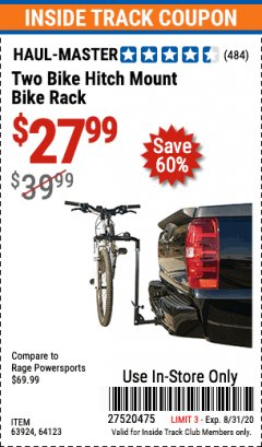 Harbor Freight ITC Coupon TWO BIKE HITCH MOUNT BIKE RACK Lot No. 60623/98019/64123/63924 Expired: 8/31/20 - $27.99