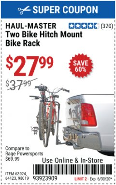 Harbor Freight Coupon TWO BIKE HITCH MOUNT BIKE RACK Lot No. 60623/98019/64123/63924 Expired: 6/30/20 - $27.99