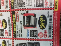 "Harbor Freight Coupon BAUER 15 AMP 12 1/2"" PORTABLE THICKNESS PLANER Lot No. 63445 Expired: 8/31/19 - $249.99"