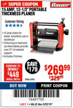 "Harbor Freight Coupon BAUER 15 AMP 12 1/2"" PORTABLE THICKNESS PLANER Lot No. 63445 Expired: 9/22/19 - $269.99"