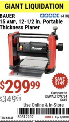 "Harbor Freight Coupon BAUER 15 AMP 12 1/2"" PORTABLE THICKNESS PLANER Lot No. 63445 Expired: 9/30/20 - $299.99"