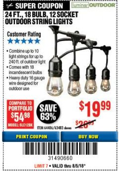 Harbor Freight Coupon 24 FT., 18 BULB, 12 SOCKET OUTDOOR STRING LIGHTS Lot No. 64486/63843/64739 Expired: 8/5/18 - $19.99
