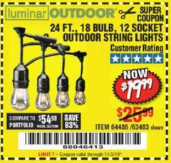 Harbor Freight Coupon 24 FT., 18 BULB, 12 SOCKET OUTDOOR STRING LIGHTS Lot No. 64486/63843/64739 Expired: 11/3/18 - $19.99