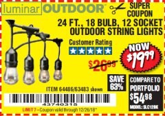 Harbor Freight Coupon 24 FT., 18 BULB, 12 SOCKET OUTDOOR STRING LIGHTS Lot No. 64486/63843/64739 Expired: 12/26/18 - $19.99