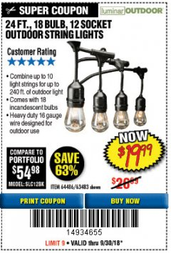 Harbor Freight Coupon 24 FT., 18 BULB, 12 SOCKET OUTDOOR STRING LIGHTS Lot No. 64486/63843/64739 Expired: 9/30/18 - $19.99