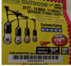 Harbor Freight Coupon 24 FT., 18 BULB, 12 SOCKET OUTDOOR STRING LIGHTS Lot No. 64486/63843/64739 Expired: 1/4/19 - $19.99