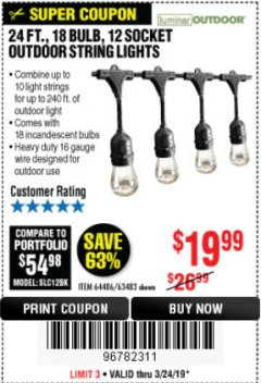 Harbor Freight Coupon 24 FT., 18 BULB, 12 SOCKET OUTDOOR STRING LIGHTS Lot No. 64486/63843/64739 Expired: 3/24/19 - $19.99