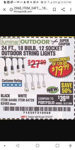 Harbor Freight Coupon 24 FT., 18 BULB, 12 SOCKET OUTDOOR STRING LIGHTS Lot No. 64486/63843/64739 Expired: 12/31/19 - $19.99