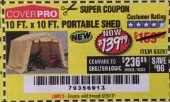 Harbor Freight Coupon COVERPRO 10 FT. X 10 FT. PORTABLE SHED Lot No. 63297 Expired: 6/26/18 - $139.99