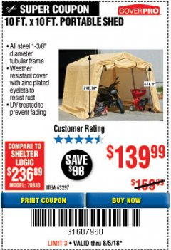 Harbor Freight Coupon COVERPRO 10 FT. X 10 FT. PORTABLE SHED Lot No. 63297 Expired: 8/5/18 - $139.99