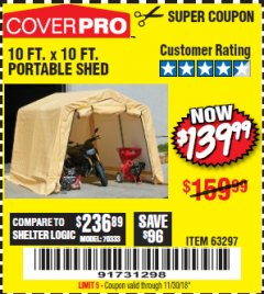 Harbor Freight Coupon COVERPRO 10 FT. X 10 FT. PORTABLE SHED Lot No. 63297 Expired: 11/30/18 - $139.99