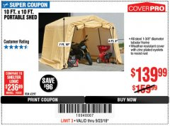 Harbor Freight Coupon COVERPRO 10 FT. X 10 FT. PORTABLE SHED Lot No. 63297 Expired: 9/23/18 - $139.99