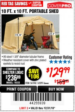 Harbor Freight Coupon COVERPRO 10 FT. X 10 FT. PORTABLE SHED Lot No. 63297 Expired: 12/31/18 - $129.99