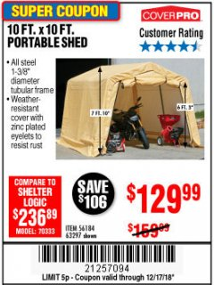 Harbor Freight Coupon COVERPRO 10 FT. X 10 FT. PORTABLE SHED Lot No. 63297 Expired: 12/17/18 - $129.99