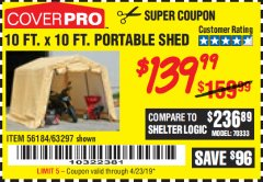Harbor Freight Coupon COVERPRO 10 FT. X 10 FT. PORTABLE SHED Lot No. 63297 Expired: 4/23/19 - $139.99